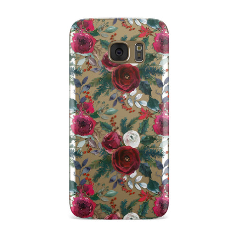 Christmas Floral Pattern Samsung Galaxy Case