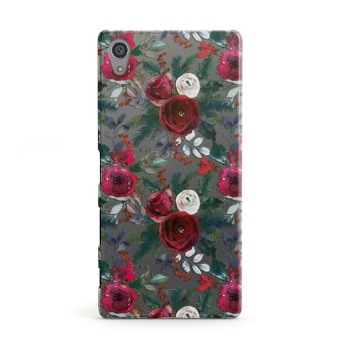 Christmas Floral Pattern Sony Case