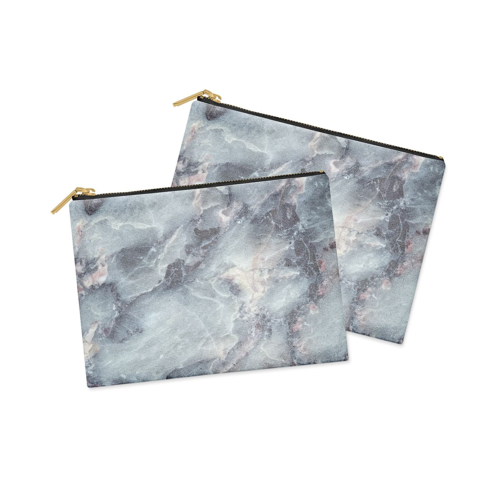 Faux Marble Blue Grey Clutch Bag Zipper Pouch Alternative View