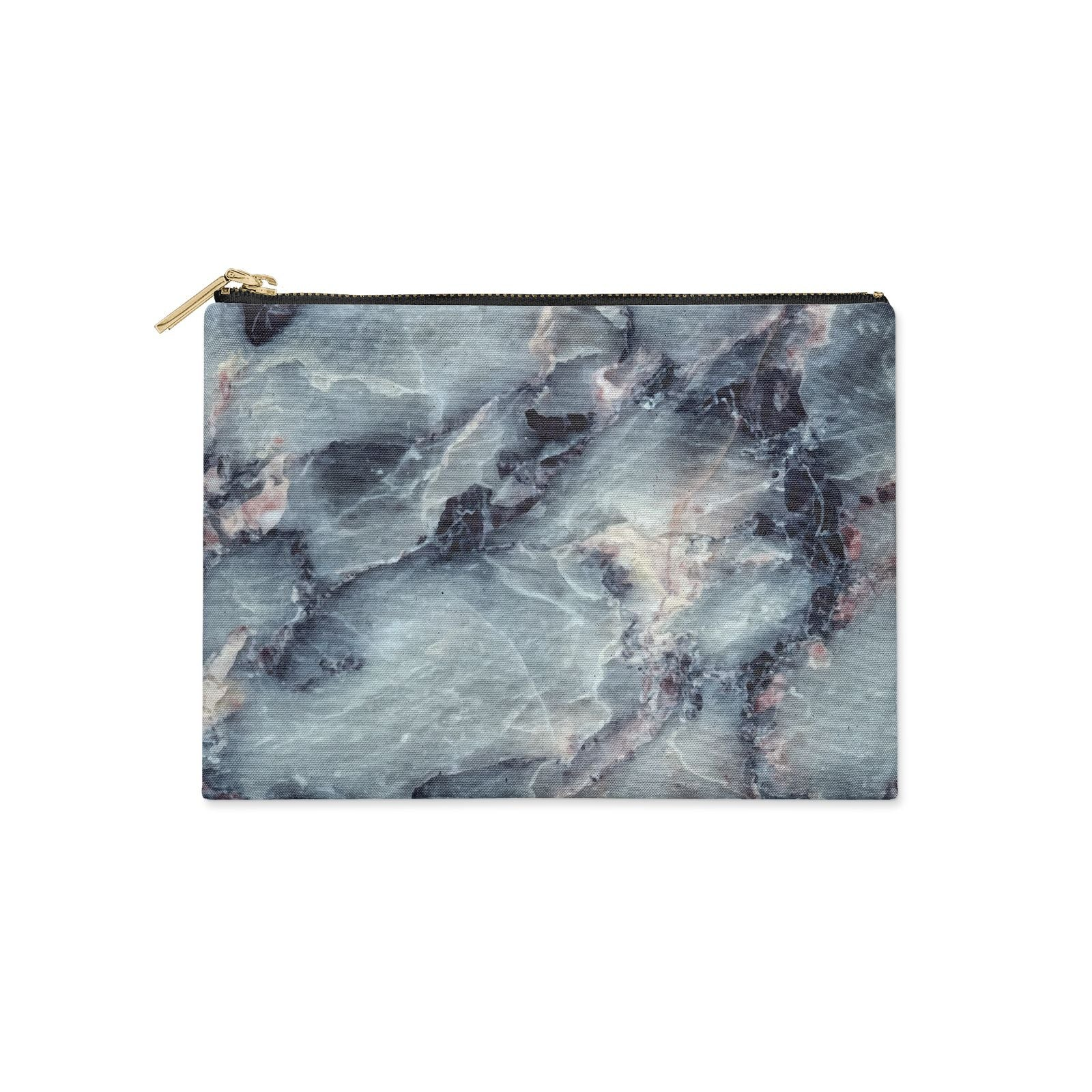 Faux Marble Blue Grey Clutch Bag Zipper Pouch