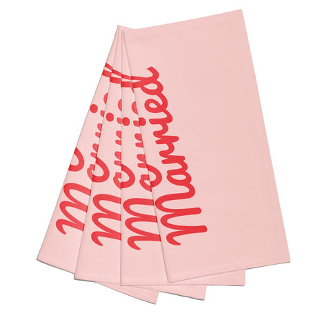 Just Married Red Pink Napkins