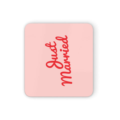 Just Married Red Pink Coasters set of 4