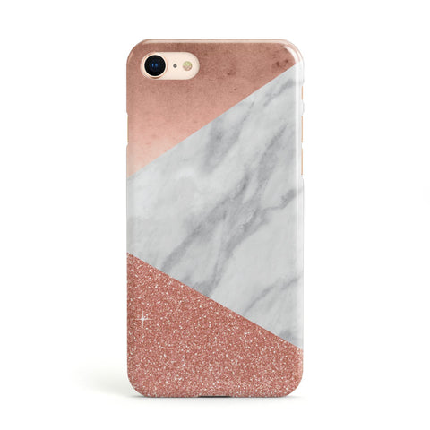 Marble Rose Gold Foil Glitter Apple iPhone Case