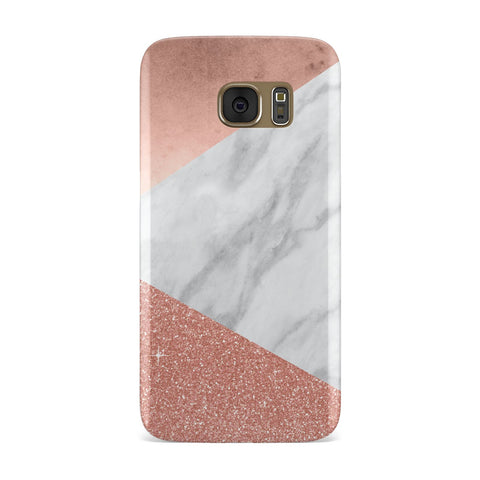 Marble Rose Gold Foil Glitter Samsung Galaxy Case