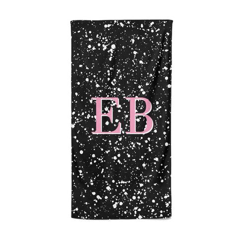 Personalised Black Ink Splat & Initials Beach Towel
