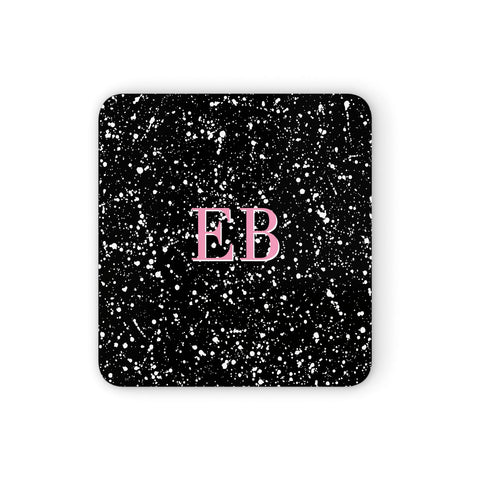 Personalised Black Ink Splat & Initials Coasters set of 4