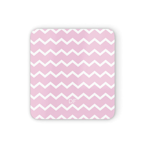 Personalised Chevron Pink Coasters set of 4