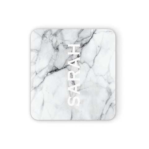 Personalised Clear Name See Through Grey Marble Coasters set of 4