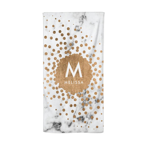 Personalised Copper Confetti Marble & Name Beach Towel