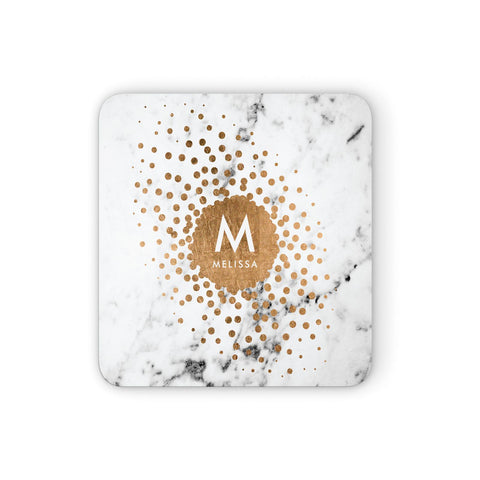 Personalised Copper Confetti Marble & Name Coasters set of 4