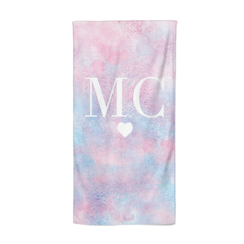 Personalised Cotton Candy Marble & Initials Beach Towel