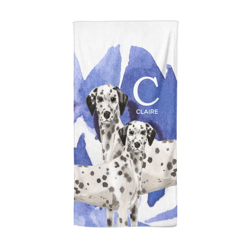Personalised Dalmatian Beach Towel