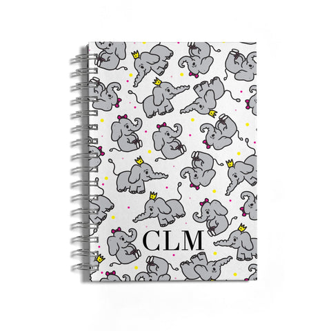 Personalised Elephant Initials Clear Notebook