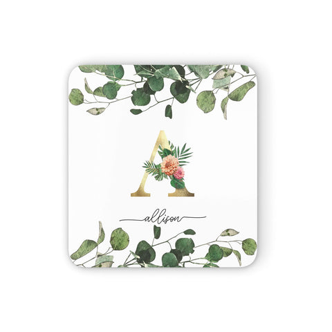 Personalised Forest Monogram Coasters set of 4