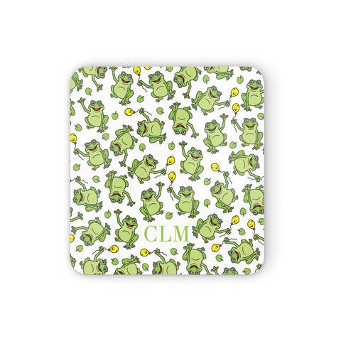 Personalised Frog Initials Coasters set of 4