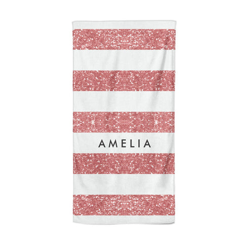 Personalised Glitter Effect Name Initials Beach Towel