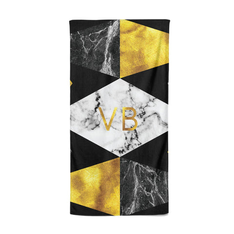 Personalised Gold & Marble Initials Beach Towel