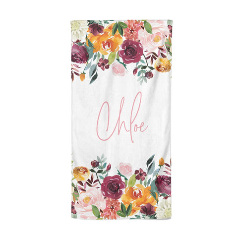 Personalised Name Transparent & Flowers Beach Towel