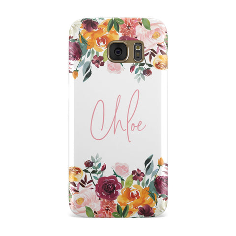 Personalised Name Transparent & Flowers Samsung Galaxy Case