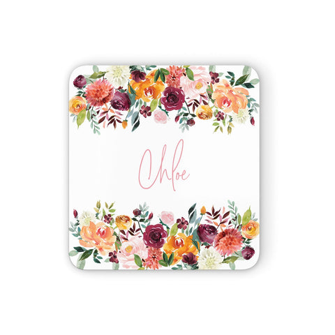 Personalised Name Transparent & Flowers Coasters set of 4