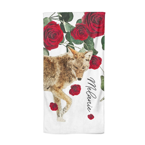 Personalised Name Wolf Beach Towel