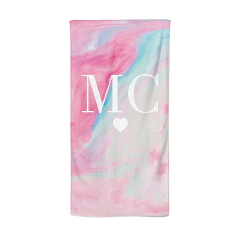 Personalised Pastel Marble & Initials Beach Towel