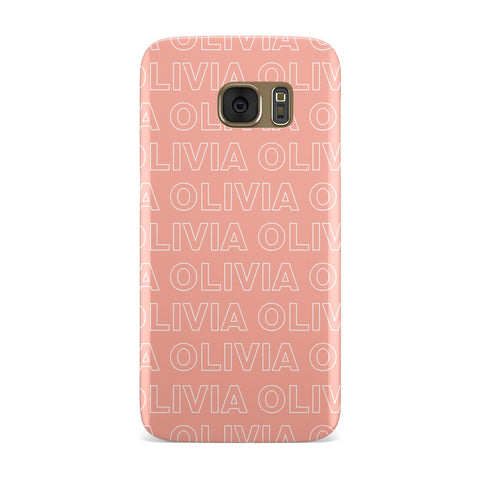 Personalised Peach Name Samsung Galaxy Case