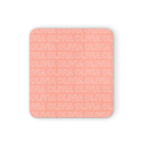 Personalised Peach Name Coasters set of 4