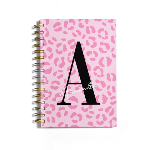 Personalised Pink Leopard Print Notebook