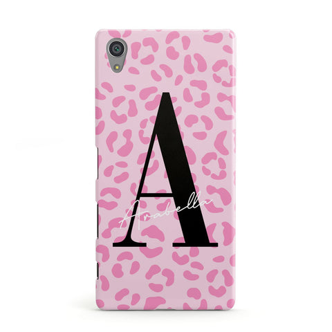 Personalised Pink Leopard Print Sony Case