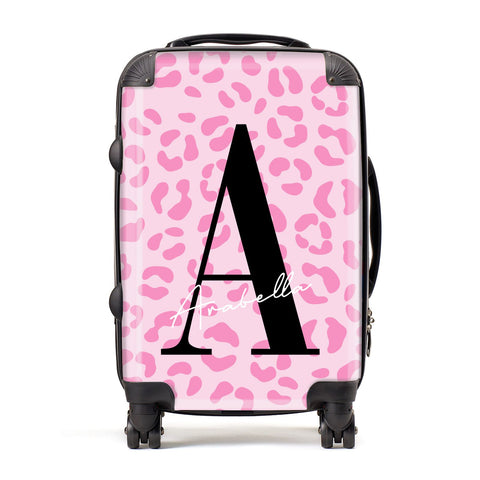 Personalised Pink Leopard Print Suitcase