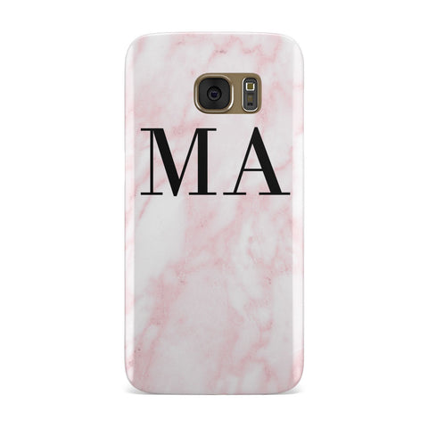Pink Marble Initials Personalised Samsung Galaxy Case