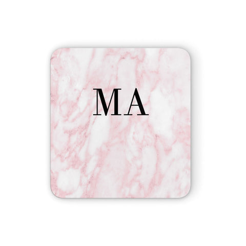 Personalised Pinky Marble Initials Coasters set of 4