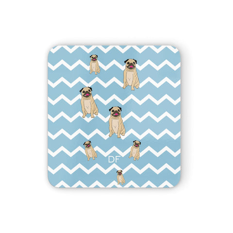 Personalised Pug Initials Coasters set of 4