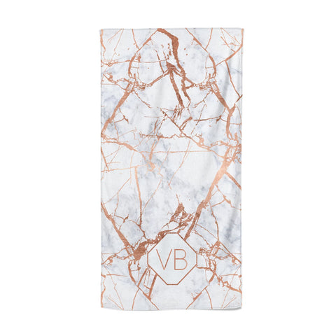 Personalised Rose Gold Vein Marble Initials Beach Towel