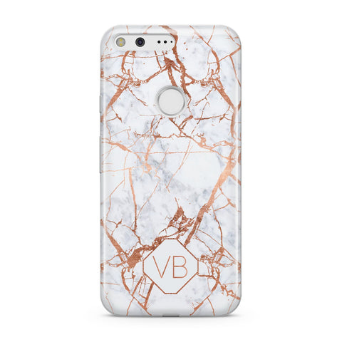 Personalised Rose Gold Vein Marble Initials Google Case