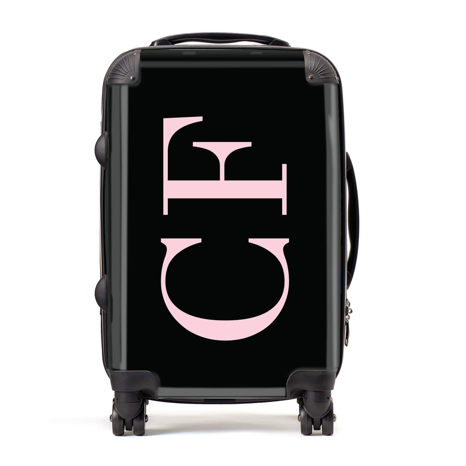 Black with Large Pink Initials Personalised Suitcase