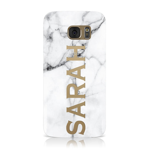 Personalised Clear Name See Through Grey Marble Samsung Galaxy Case