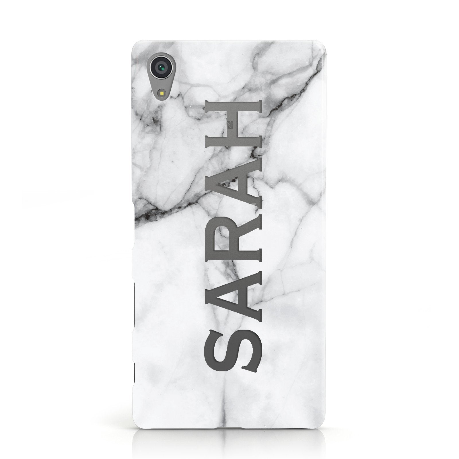 Personalised Clear Name See Through Grey Marble Sony Xperia Case