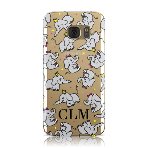 Personalised Elephant Initials Clear Samsung Galaxy Case