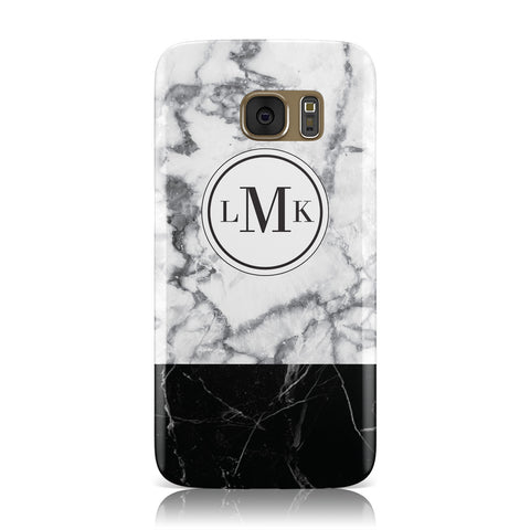 Geometric Marble Initials Personalised Samsung Galaxy Case