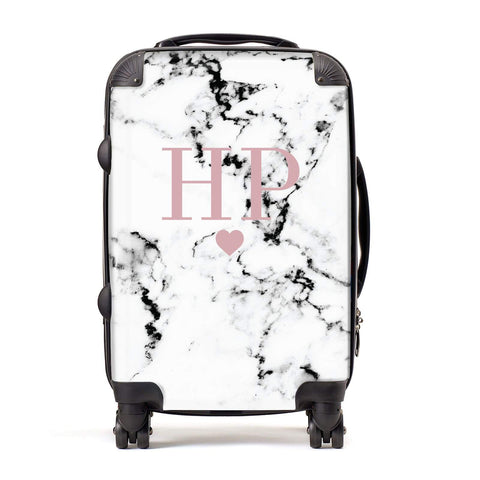 Marble Blush Pink Initial & Heart Personalised Suitcase