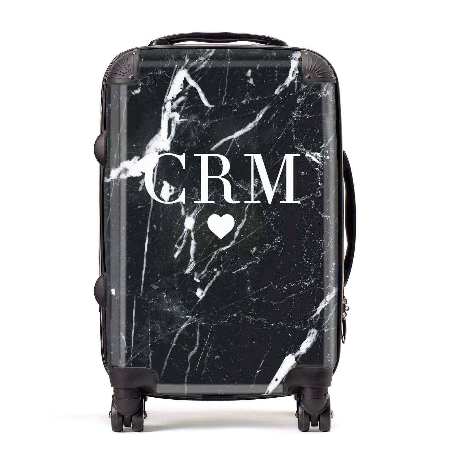 Marble Heart Initials Personalised Suitcase
