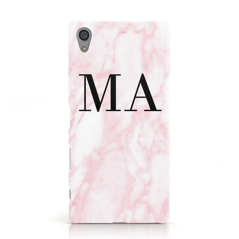 Personalised Pinky Marble Initials Sony Xperia Case
