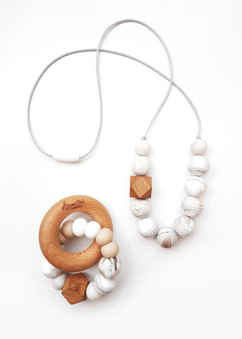 A modern necklace suited to those who love accessorising with more neutral tones - Teether and Necklace Gift Set - Espagono Set (also available separately) - Bowerbird Creations