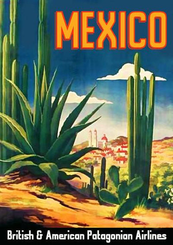 MEXICO TRAVEL POSTER: Vintage Cactus Advert Print - The Print Arcade