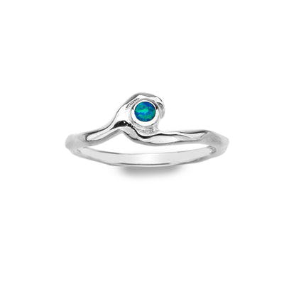 Silver Wave Ring with Blue Opal