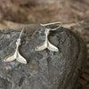 Silver Whale Tail Drop Earrings
