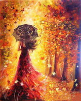 Beautiful Woman Autumn Landscape Paint-By-Number Kit