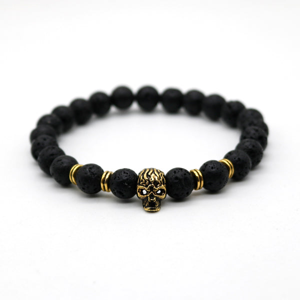 Antique Skeleton Skull Bracelet With Black Lava Stone Bead